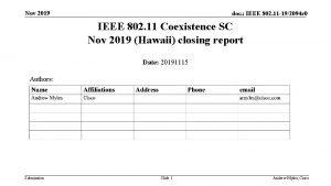 Nov 2019 doc IEEE 802 11 192094 r