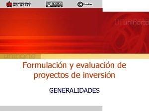 Formulacin y evaluacin de proyectos de inversin GENERALIDADES