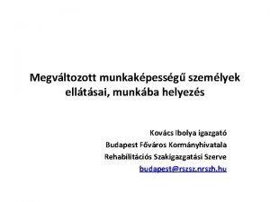 Megvltozott munkakpessg szemlyek elltsai munkba helyezs Kovcs Ibolya