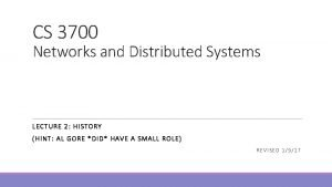 CS 3700 Networks and Distributed Systems LECTU RE