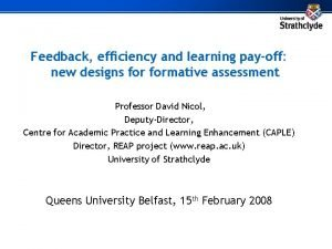 Feedback efficiency and learning payoff new designs formative