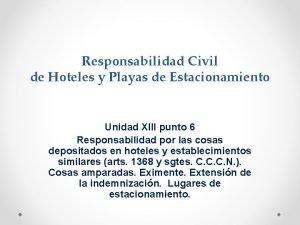 Responsabilidad Civil de Hoteles y Playas de Estacionamiento