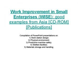 Work Improvement in Small Enterprises WISE good examples
