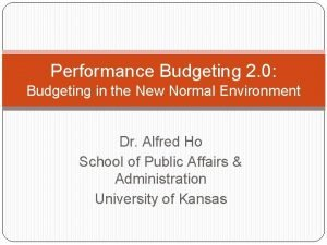 Performance Budgeting 2 0 Budgeting in the New