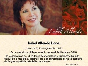 Isabel Allende Llona Lima Per 2 de agosto