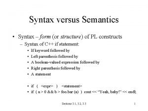 Syntax versus Semantics Syntax form or structure of