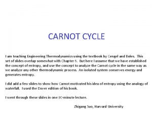 CARNOT CYCLE I am teaching Engineering Thermodynamics using