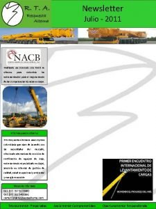 Newsletter Julio 2011 Mediante un convenio con NACB