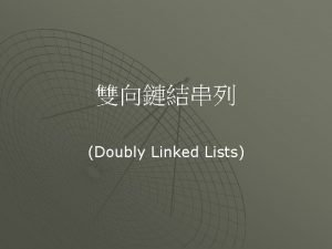 Doubly Linked Lists C struct node int number