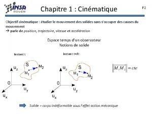 Chapitre 1 Cinmatique Objectif cinmatique tudier le mouvement