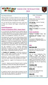 TERM ONE NEWSLETTER 2018 Dates To Remember Dear