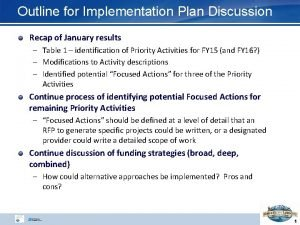Outline for Implementation Plan Discussion Recap of January