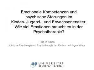 Emotionale Kompetenzen und psychische Strungen im Kindes Jugend
