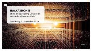 HACKATHON II Stimuleringsregeling Uitwisselen van onderwijsaanboddata Donderdag 21
