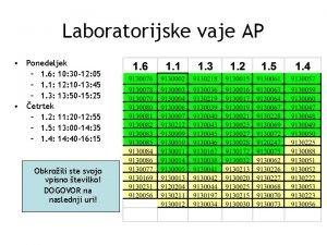Laboratorijske vaje AP Ponedeljek 1 6 10 30
