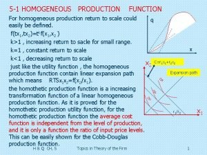 5 1 HOMOGENEOUS PRODUCTION FUNCTION For homogeneous production