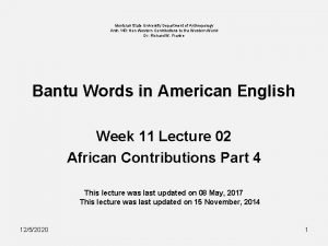 Montclair State University Department of Anthropology Anth 140