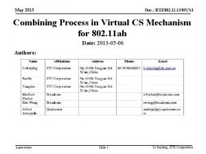 May 2013 Doc IEEE 802 11 130517 r