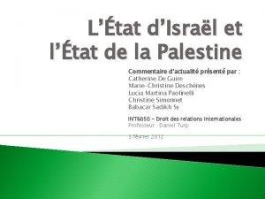 Ltat dIsral et ltat de la Palestine Commentaire