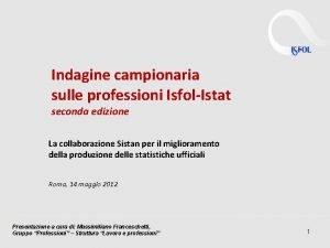 Indagine campionaria sulle professioni IsfolIstat seconda edizione La