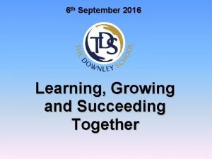 6 th September 2016 Learning Growing and Succeeding