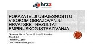 Ekonomski fakultet Zagreb 19 lipnja 2018 godine Okrugli