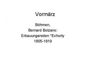Vormrz Bhmen Bernard Bolzano Erbauungsreden Exhorty 1805 1819