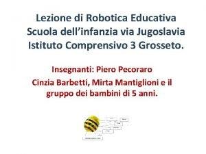 Lezione di Robotica Educativa Scuola dellinfanzia via Jugoslavia