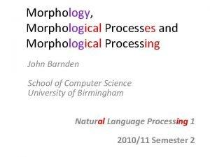 Morphology Morphological Processes and Morphological Processing John Barnden