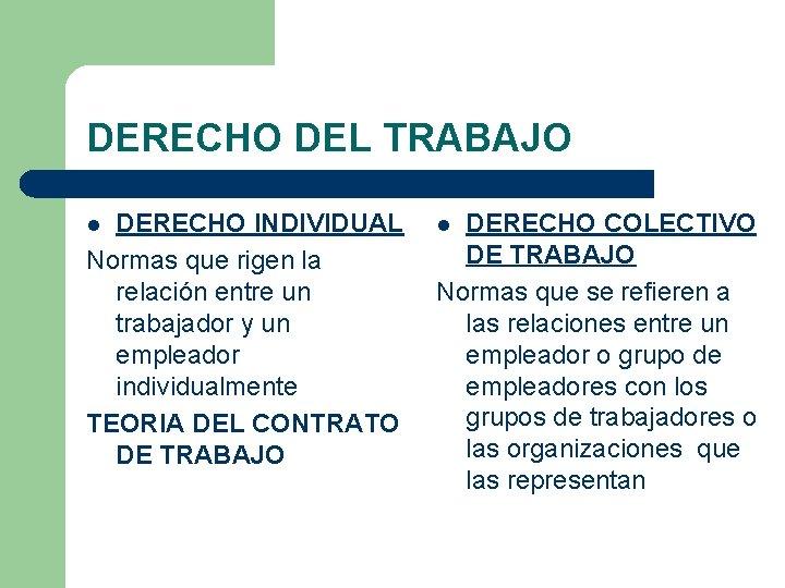 DERECHO DEL TRABAJO DERECHO INDIVIDUAL Normas que rigen