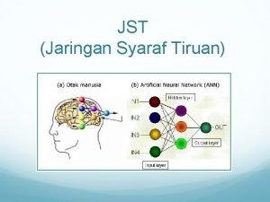 JST Jaringan Syaraf Tiruan Pendahuluan JST adalah paradigma