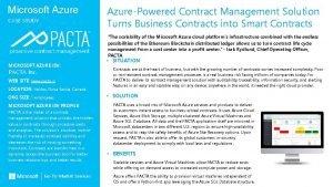 Microsoft Azure CASE STUDY MICROSOFT AZURE ISV PACTA