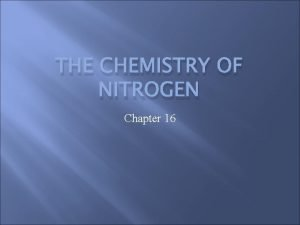 THE CHEMISTRY OF NITROGEN Chapter 16 Nitrogen Nitrogen
