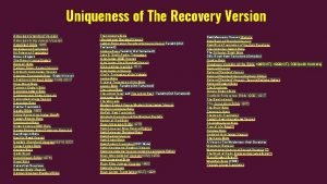 Uniqueness of The Recovery Version American Standard Version