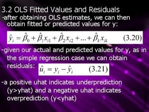 3 2 OLS Fitted Values and Residuals after