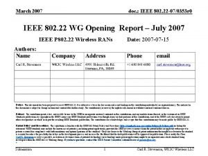 March 2007 doc IEEE 802 22 070353 r