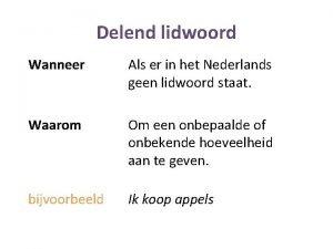 Delend lidwoord Wanneer Als er in het Nederlands