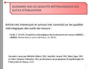 GLOSSAIRE SUR LES QUALITS MTROLOGIQUES DES OUTILS DVALUATION