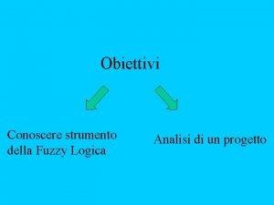Obiettivi Conoscere strumento della Fuzzy Logica Analisi di