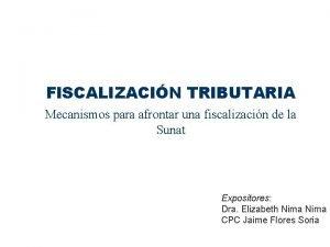FISCALIZACIN TRIBUTARIA Mecanismos para afrontar una fiscalizacin de