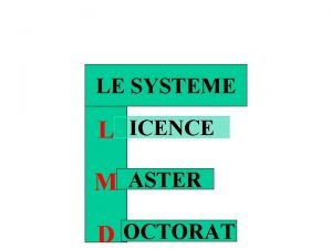 LE SYSTEME L ICENCE M ASTER D OCTORAT