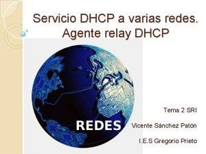 Servicio DHCP a varias redes Agente relay DHCP