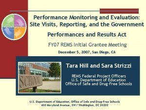 Performance Monitoring and Evaluation Site Visits Reporting and