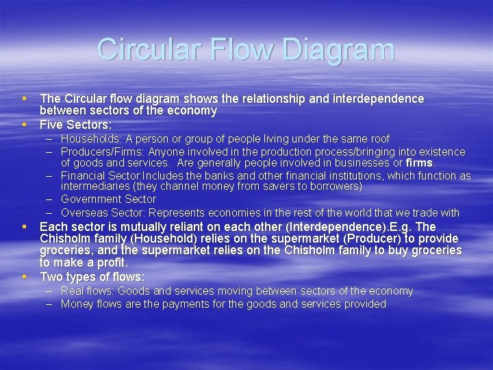 Circular Flow Diagram The Circular flow diagram shows