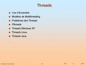 Threads n Vue dEnsemble n Modles de Multithreading