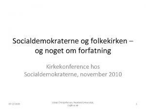 Socialdemokraterne og folkekirken og noget om forfatning Kirkekonference