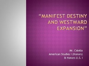 Mr Calella American Studies I Honors Honors U