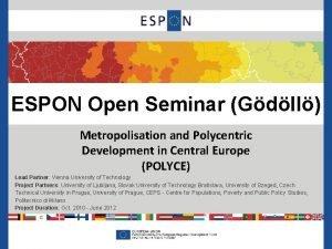 ESPON Open Seminar Gdll Metropolisation and Polycentric Development