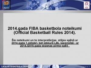 2014 gada FIBA basketbola noteikumi Official Basketball Rules