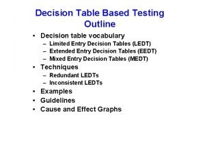 Decision Table Based Testing Outline Decision table vocabulary
